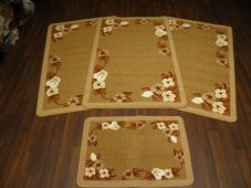 Non Slip Washable Gypsy Romany Travellers/ Mats Set 4Pc Flowers Biscuit More Colours Available (2)